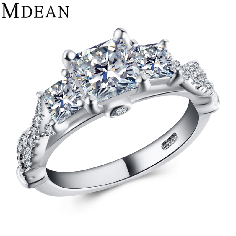 Wedding Rings for Women Pure Solid Genuine 925 Sterling Silver Jewelry 4.3 Gram 3 Stone Model 1.2 Carat CZ Diamond Bague MSR450(China (Mainland))