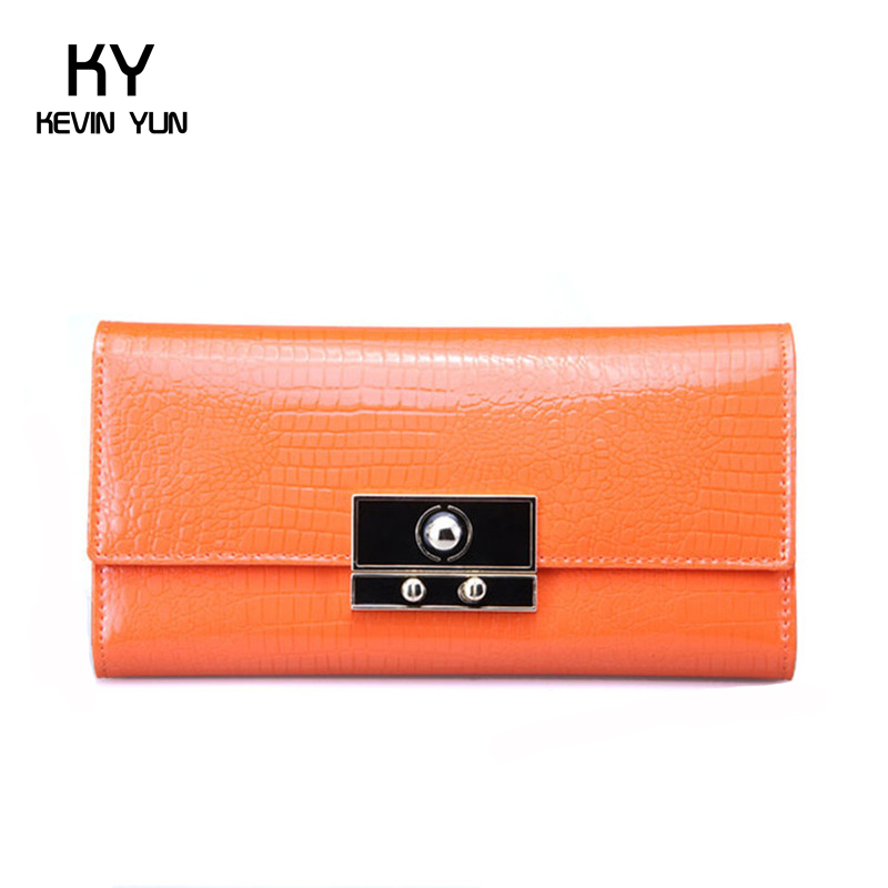 2016 New high quality women wallets designer lock patent leather purse female long clutch wallet casual lady carteira(China (Mainland))