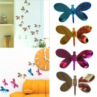 New home decoration 3D Dragonfly Wall Sticker Mariposas Docors arte DIY decoraciones de papel four colors
