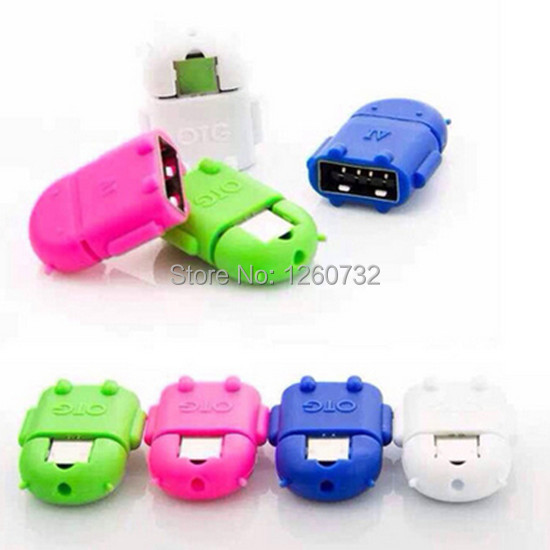 Free ship 5pcs OTG To Micro USB 9pin Cable Android robot Pendant Adapter for Samsung i9300 S4 i9500 S5 i9600 Note 3 Neo for HTC