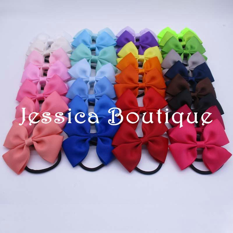 "100pcs/lot 3.5"" Solid Wide Ribbon Bows with Black Elastic Hair Bands Baby Girls hair accessories Elastic Loop Hair Rope Bows(China (Mainland))"