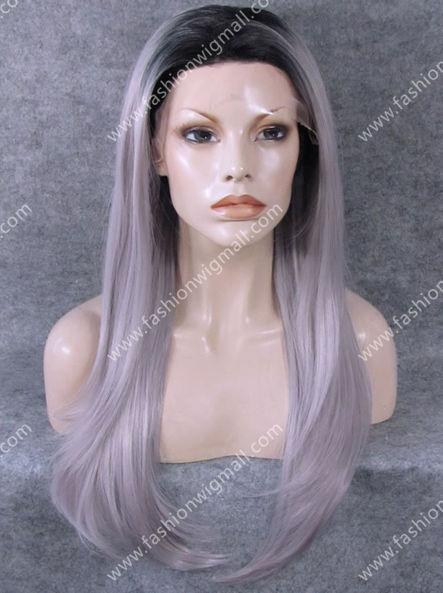 "Здесь можно купить  W02 24"" Straight Heat Resistant Synthetic Front Lace Wig Grey Stylish Dark Root Gray Ombre Celebrity Lace Front Wig Natural  Волосы и аксессуары"