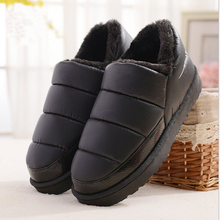 New arrival waterproof women PU leather snow boots warm short plush ankle boot female winter shoes woman large big size 41 45(China (Mainland))