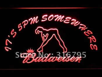 461-r It's 5 pm Somewhere Budweiser Dancer LED Neon Sign