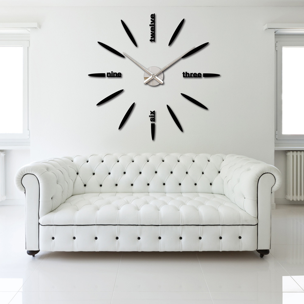 Diy large watch wall clock decor modern design creative stickers mirror effec - Horloge murale decorative ...