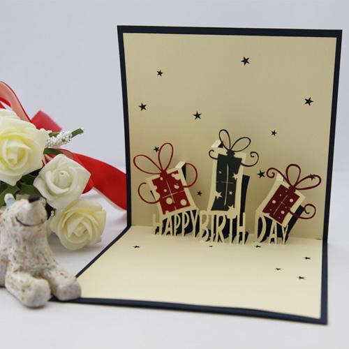 Cute kids Birthday gift cards invitations laser cut 3d pop paper art decoupage love sweet greeting envelope - Ivy trade company ltd store