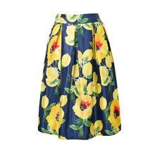 New Arrival Spring Summer Fashion Skirt Elastic High Waist Floral Printed A-line Midi Tutu Knee Length Summer Womens Skirts