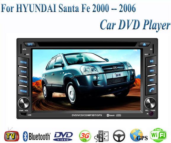 Car DVD Player Fit HYUNDAI Santa Fe 2000 2001 2002 2003 2004 2005 2006 GPS TV 3G Radio WiFi Bluetooth Wheel Control(China (Mainland))