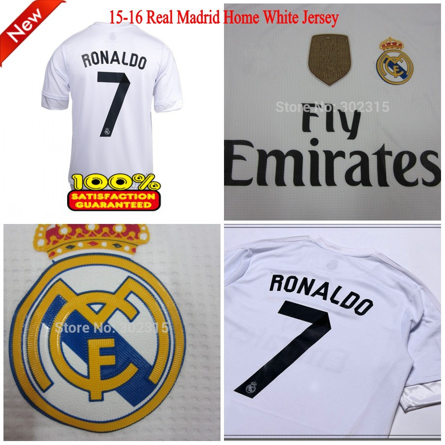 15-16 Real Madrid Jersey RONALDO Home White Mens 2015 2016 Camisetas Futbol Shirt LUCAS SILVA RAMOS BALE JAMES ISCO Soccer Jerse(China (Mainland))