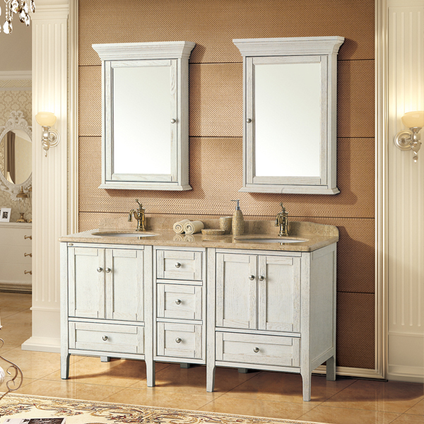 antique white and ashtree solid wood cabinet and mirror, Oman beige