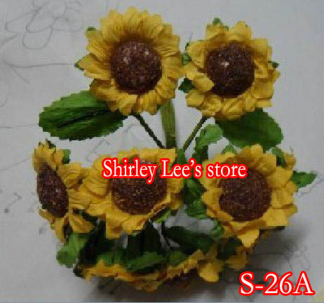 Wholesale--130 bunches paper flowers--mini paper sunflower for scrapbook ,mini dry look sunflower (Free Shipping by Express)(China (Mainland))