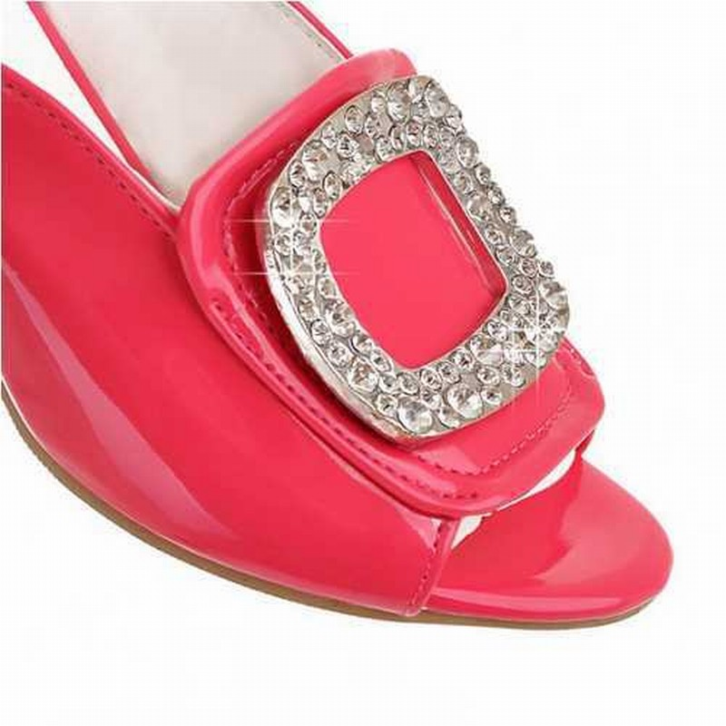 brand new 2015 sexy 5 colors open toe rhinestone slides chunky heels summer wedding fashion OL party sandals