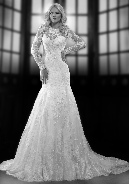 2014 Elaborate Sexy Lace Scoop Mermaid Open Back Long Sleeves Sheer Beading Crystal Wedding Dresses Bridal Wedding Gowns WED74(China (Mainland))
