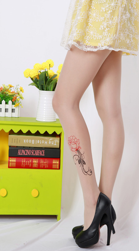 2 Pairs Factory Price Spring Hot New Fashion Sexy Women Tattoo Tights Transparent Medias and Pantyhose Women Stockings(China (Mainland))