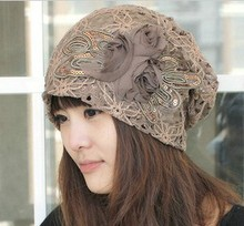 2015 New Butterfly-knot Rose Flower Ladies' Fashion Cap Nice Chiffon Lace Hand Hooked Women Beanies Hats Retails(China (Mainland))