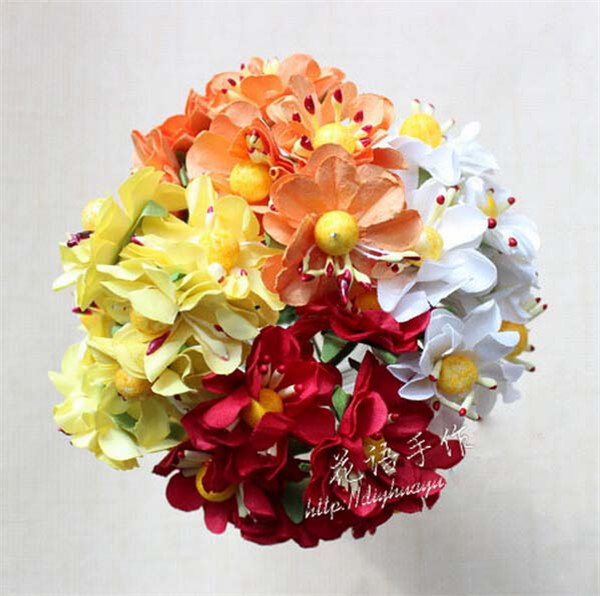 144pcs/lot Free Shipping artificial flowers 3cm Multicolor Mulberry Paper Flower Bouquet flores artificial DIY garland material(China (Mainland))