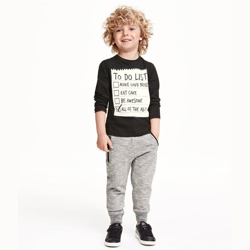 Boy Spring Clothes Set Bobo Choses 2016 Boys Longsleeve T shirt + Gray Pants Kids Sweatpants Vetement Enfant Custom 3-7Y(China (Mainland))