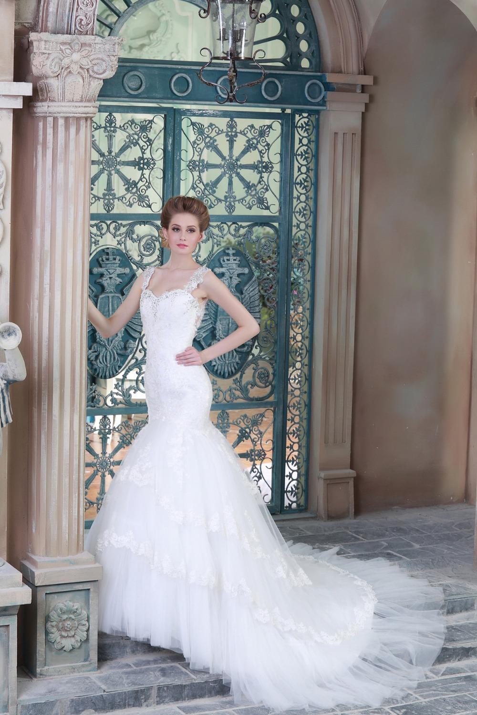 2015 Robe de mariee cheap sleeveless beaded lace mermaid boutique plus size wedding dress IP009(China (Mainland))