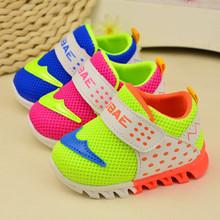 2016 kids shoes baby Toddler sneakers girls Boy sports shoes Kids Fluorescent color mesh Breathable air cushion sports shoes 0-1(China (Mainland))