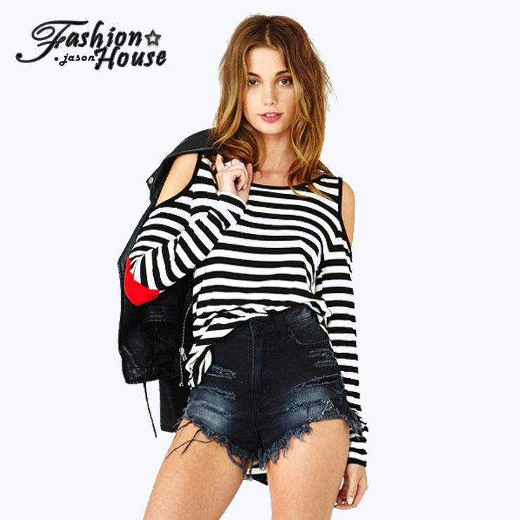 2015 autumn women shirt casual cotton o-neck long sleeve t-shirt sexy tshirt striped off shoulder applique shirts plus size(China (Mainland))