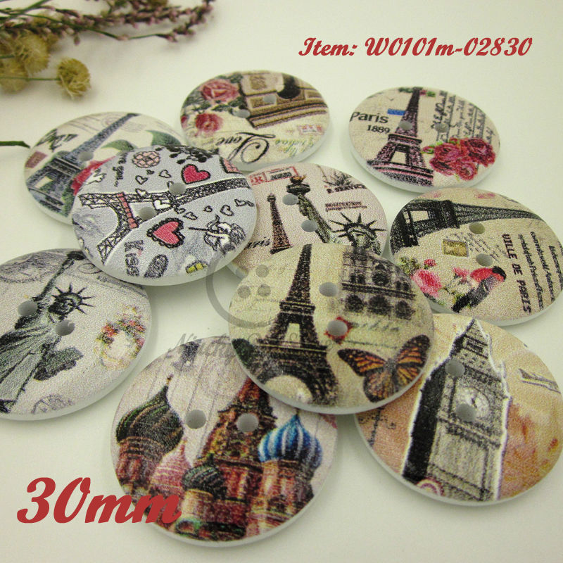 144pcs 30mm Mixed Eiffel Tower Series large wood buttons for Craft / sewing / diy / scrapbook accessories(China (Mainland))