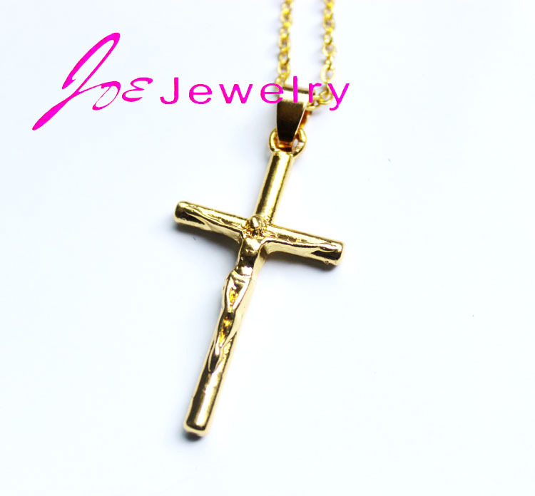 1PCS Jesus Cross Necklace 18K Real Gold Plated Cross Pendant For Women/Men Fashion Religious Jewelry Crucifix Necklaces 2015(China (Mainland))