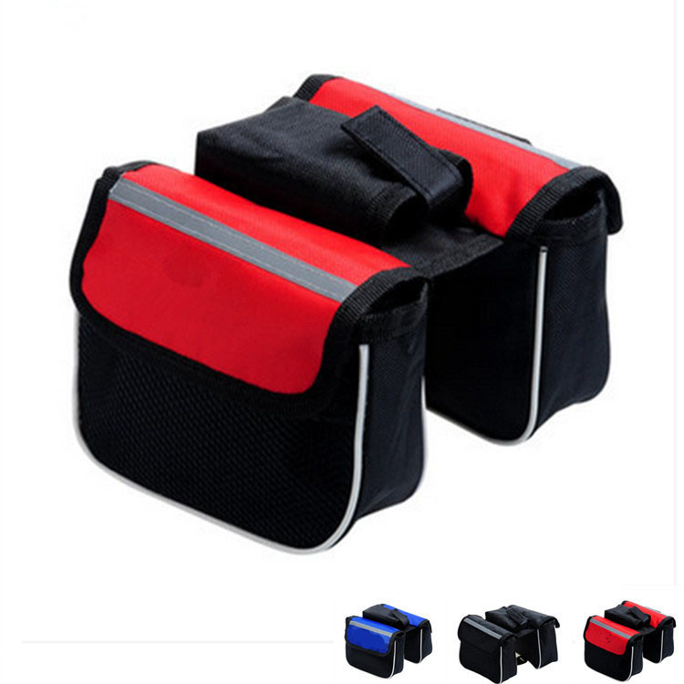 2015 Sale Real Bike Bag Bicycle Bag Bolsa Cycling Bike Accessories Mountain Saddle & Front Tube Pouch Frame Pannier 2 Sides Pack(China (Mainland))