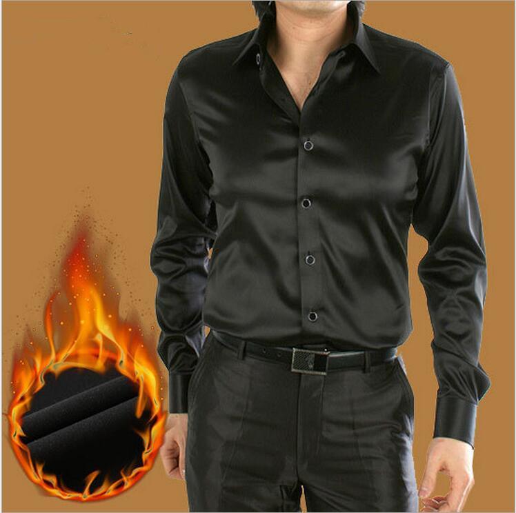 2016Autumn winter new style men Plus velvet Turn-down Collar silk shirt Fashion Shirts men plus size casual Shirt Slim Men Shirt(China (Mainland))