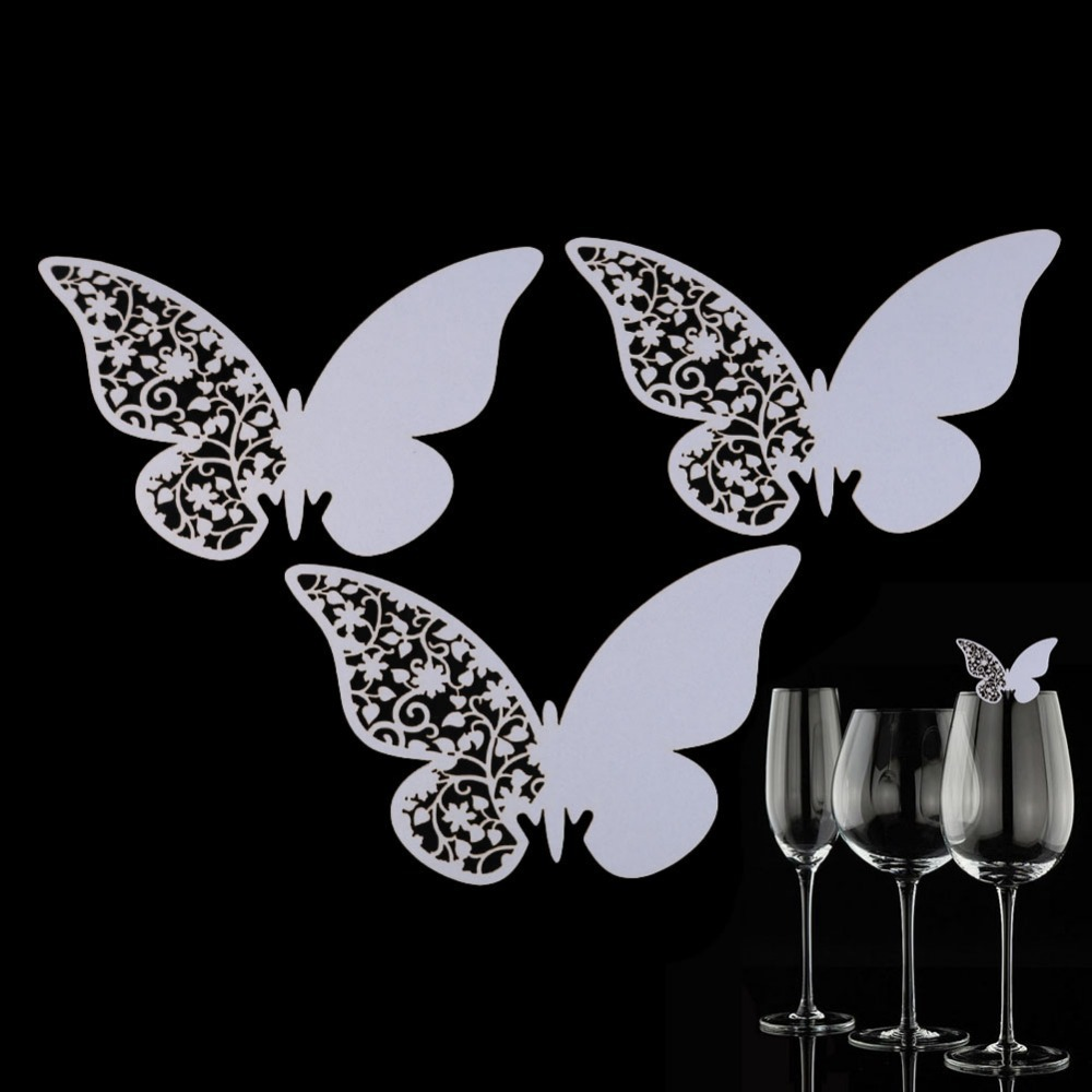Multi-Usage 50 Pcs Butterfly Cut-out Place Escort Wedding Party Wine Glass Paper Cards K5BO(China (Mainland))