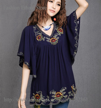 Vintage boho Ethnic Floral Embroidery Loose Batwing t shirt Women Tops V-neck Tunic t-shirt Summer tshirt camisetas mujer blusa(China (Mainland))