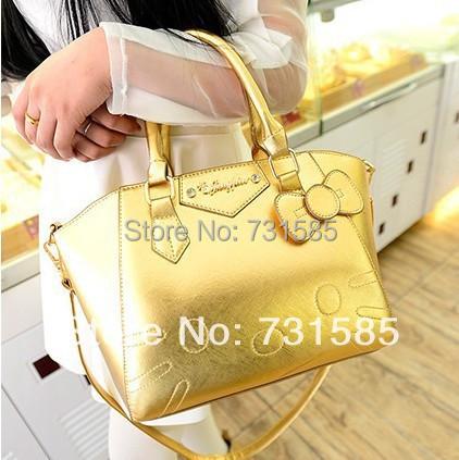 2015 new fashion women leather handbag gismo cartoon bag cute hello kitty cat bags with bow knot shoulder messenger bag(China (Mainland))