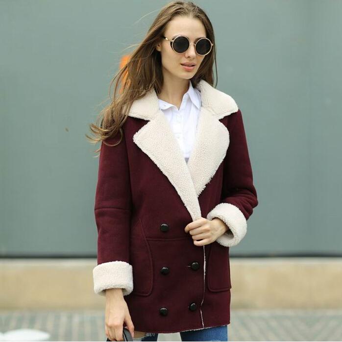 Veri Gude Winter 2014 New Womens British Style Flat Fur Collar Wine Suede CoatОдежда и ак�е��уары<br><br><br>Aliexpress