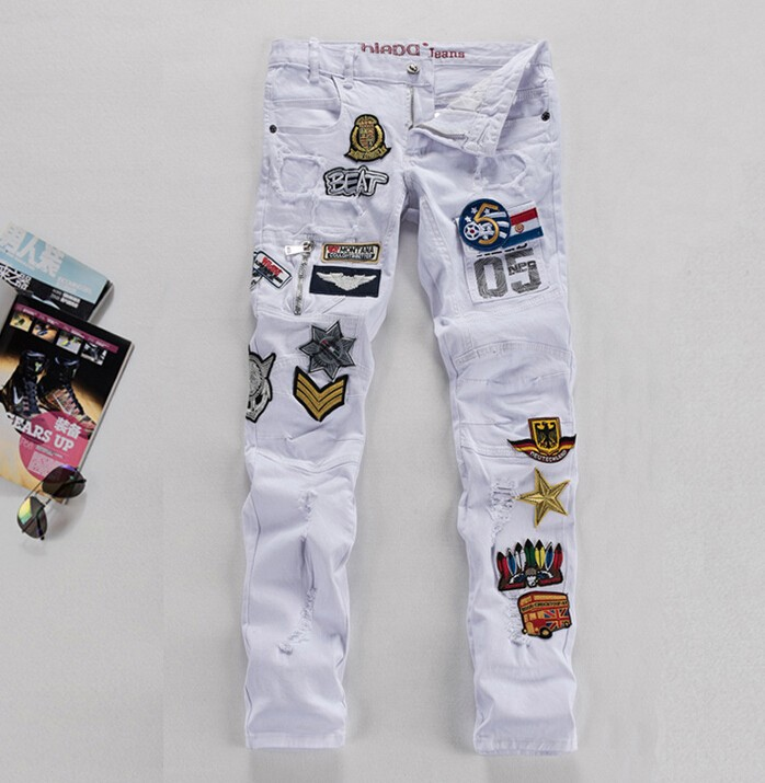 New Men's Jeans Pants punk Style White Skinny Hole Jeans Men Casual Ripped Jeans For Men Hot Sale