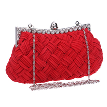 2016 Fashion Satin Beaded Crystal Knitted Clutch Evening Bags Women Bag Charm Handbag Party Dress 2 Styles High Quality New(China (Mainland))