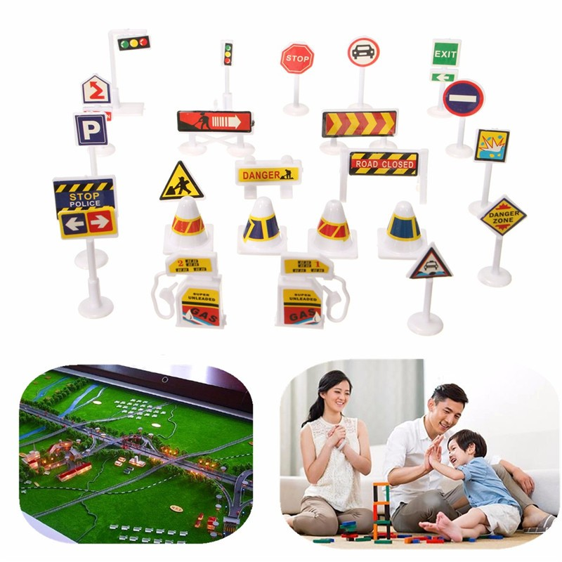 New Set 24 PCS Kids Children Traffic Street Road Sign Toy Model Decoration Gift Children Educational and Learning Models Toys(China (Mainland))