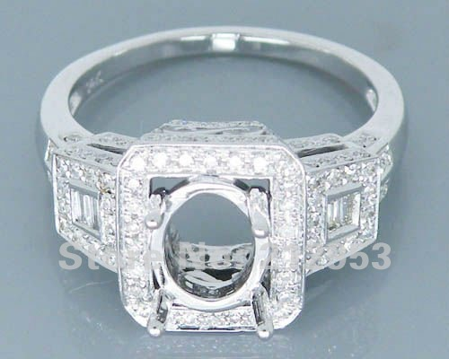 Oval 7x9mm 14kt White Gold 1.10ct Diamond Semi Mount Engagement Wedding Setting Ring<br><br>Aliexpress