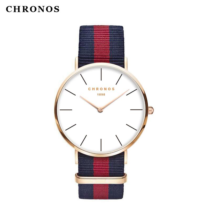 CHRONOS Luxury Brand Famous Style Men Women Watches Leather Nylon Quartz Wrist Watch Unisex Male Female Clock Relogio Masculino(China (Mainland))