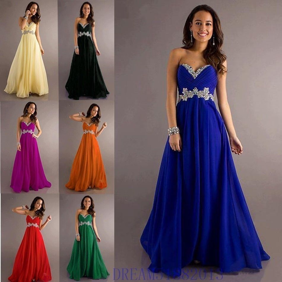 2014 hot line crystal new chiffon long prom dress for In stock wedding dresses