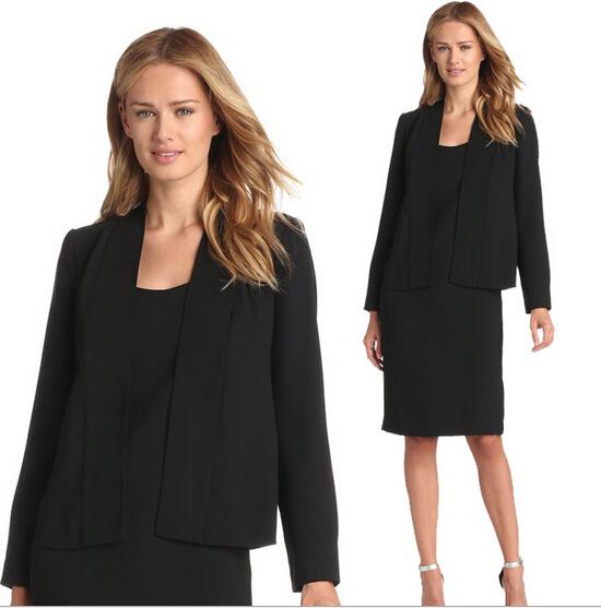 2016 Spring Fashion Women Black Blazer Dress Suits Formal Business Ladies Slim Fit Long Sleeve Two Piece Dress Suit Plus Size