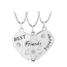 Lovers' Collier Bff Statement Necklace 3 pcs Best Friends Forever Necklaces Colar Friendship Heart Charm Pendent Gift for Girls(China (Mainland))