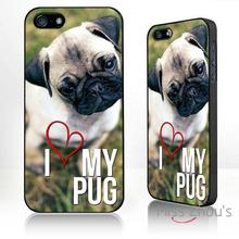 For iphone 4/4s 5/5s 5c SE 6/6s plus ipod touch 4/5/6 back skins mobile cellphone cases cover I Love my pug, dog lover