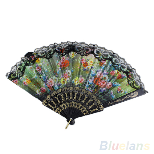 Spanish Flower Floral Fabric Lace Folding Hand Dancing Wedding Party Decor Fan 1N1G 2KFM(China (Mainland))