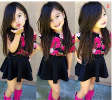 New 2016 brand summer kids baby girl clothing sets fashion Cotton short sleeve T-shirt and skirts girls clothes
