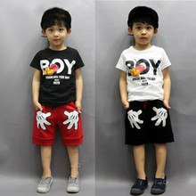 2PCS Toddler Boy Kids Two hands Outfits T-shirt+Shorts Clothes Set 2-7Y Free shipping(China (Mainland))