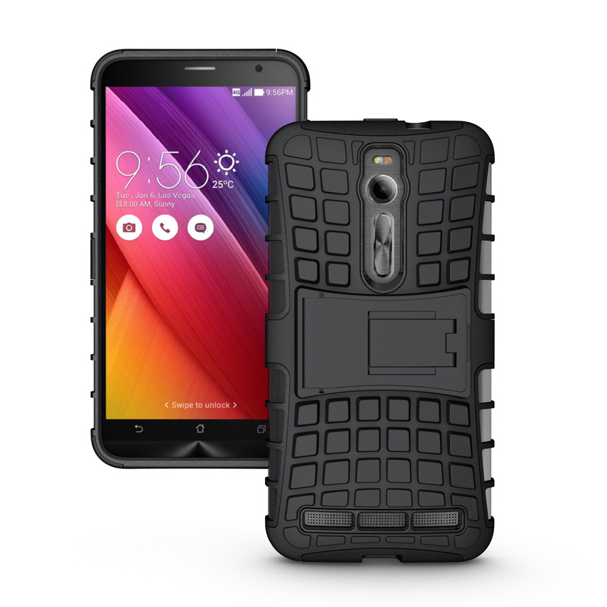 Heavy Duty Armor Phone Case Hybrid Silicone TPU Bag Shockproof Cover Stand Kickstand ASUS ZenFone 2 ZE551ML ZE550ML  -  XUANWU Trading Co.,Ltd store