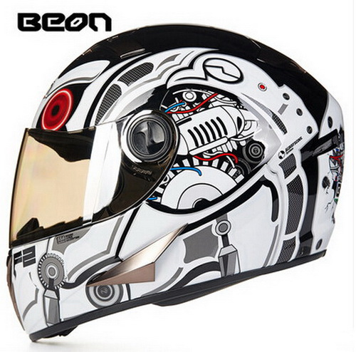ECE white orange Hawkeye BEON full face motocross Helmet for women, motorcycle MOTO electric bicycle safety headpiece(China (Mainland))
