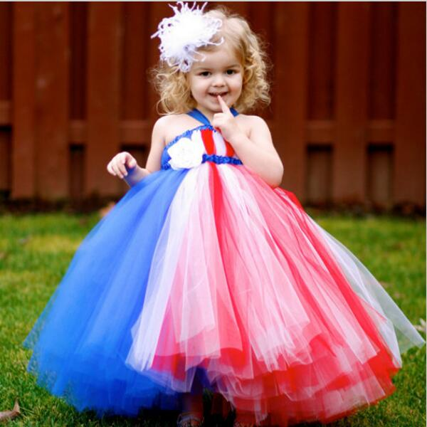 Girl Patriot Party Dress Red White Blue 4th of July Girls Toddler Dress Baby Infant Newborn Tutu For Photo props Size 2T-10Y<br><br>Aliexpress