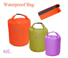40L Outdoor Waterproof Dry Bag  with 3colors for Canoe Kayak Rafting Camping Waterproof Dry Bag Free Shipping(China (Mainland))