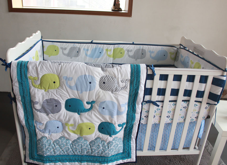 Whales 7pc Nursery Crib Bedding Set Newborn Baby Boy Cot