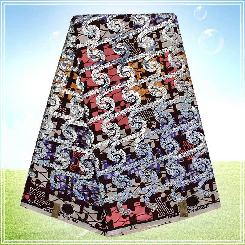 Free Shipping Super Wax Fabric Best Selling Hollandais Dutch Wax Fabric African Outfits With SequinsH152348(China (Mainland))